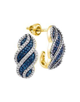 10kt Yellow Gold Womens Round Blue Color Enhanced Diamond J Half Hoop Earrings 1/10 Cttw