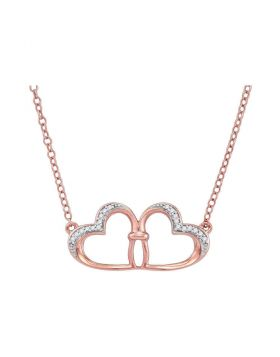 10kt Rose Gold Womens Round Diamond Heart Pendant Necklace 1/20 Cttw