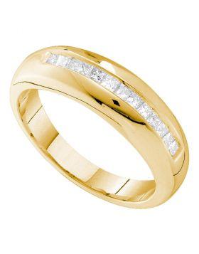 14kt Yellow Gold Mens Princess Channel-set Diamond Wedding Band Ring 1/2 Cttw