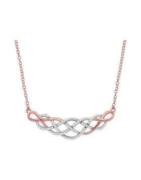 10kt Rose Gold Womens Round Diamond Woven Strand Cluster Necklace 1/4 Cttw