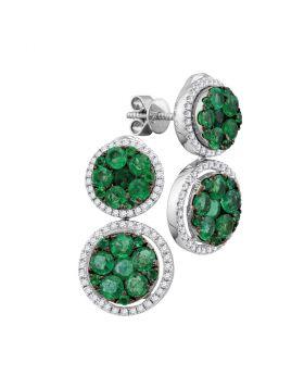 18kt White Gold Womens Round Emerald Diamond Convertible Dangle Jacket Earrings 1.00 Cttw