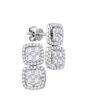 18kt White Gold Womens Round Diamond Convertible Square Dangle Jacket Earrings 1-3/8 Cttw