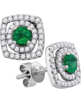 18kt White Gold Womens Oval Emerald Diamond Convertible Dangle Jacket Earrings 3/4 Cttw