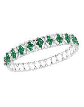 18kt White Gold Womens Round Emerald Diamond Bangle Bracelet 1-3/8 Cttw