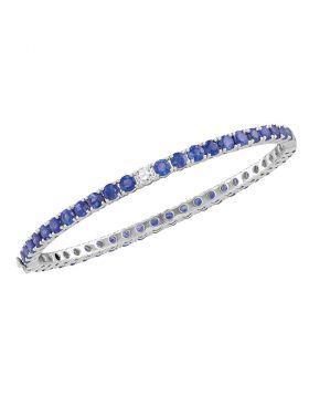 18kt White Gold Womens Round Blue Sapphire Bangle Bracelet 9.00 Cttw