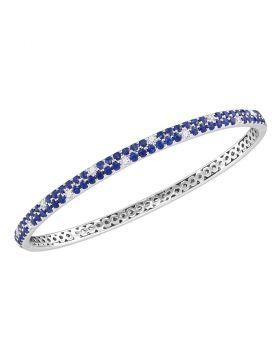 18kt White Gold Womens Round Blue Sapphire Diamond Double Row Bangle Bracelet 3-1/3 Cttw