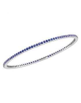 18kt White Gold Womens Round Blue Sapphire Single Row Bangle Bracelet 3.00 Cttw