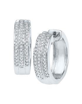 10kt White Gold Womens Round Diamond Triple Row Huggie Earrings 1/4 Cttw