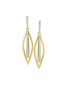 10kt Yellow Gold Womens Round Diamond Oblong Oval Stick Dangle Earrings 1/6 Cttw