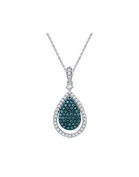 10kt White Gold Womens Round Blue Color Enhanced Diamond Teardrop Pendant 5/8 Cttw