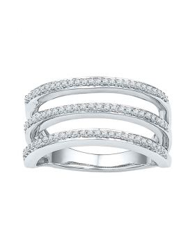 10kt White Gold Womens Round Diamond Striped Band Ring 1/4 Cttw