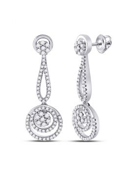 10kt White Gold Womens Round Diamond Circle Cluster Dangle Earrings 1.00 Cttw