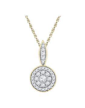 10kt Yellow Gold Womens Round Diamond Cluster Pendant 1/3 Cttw