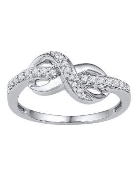 10kt White Gold Womens Round Diamond Infinity Ring 1/6 Cttw