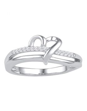 10kt White Gold Womens Round Diamond Heart Love Ring 1/20 Cttw