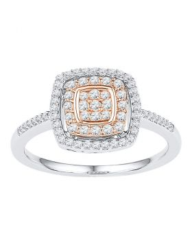 10kt White Rose-tone Gold Womens Round Diamond Square Frame Cluster Ring 3/8 Cttw