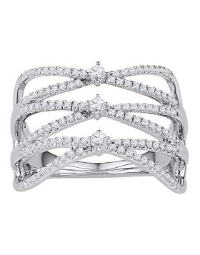 10kt White Gold Womens Round Diamond Crisscross Crossover Strand Band Ring 1/2 Cttw