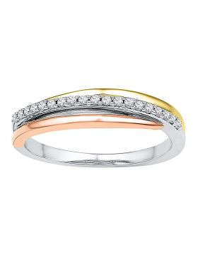 10kt Tri-Tone Gold Womens Round Diamond Triple Strand Band Ring 1/8 Cttw