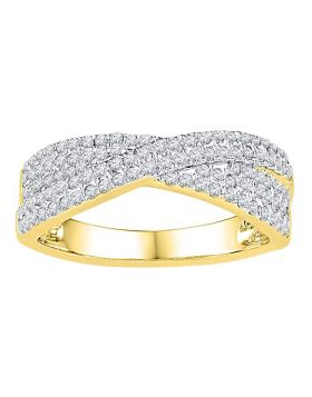 10kt Yellow Gold Womens Round Diamond Crossover Band Ring 1/2 Cttw