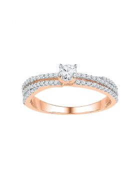10kt Rose Gold Womens Round Diamond Solitaire Bridal Wedding Engagement Ring 1/2 Cttw