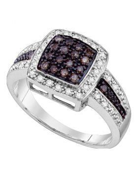 10kt White Gold Womens Round Brown Color Enhanced Diamond Cluster Ring 1/2 Cttw - Size 5