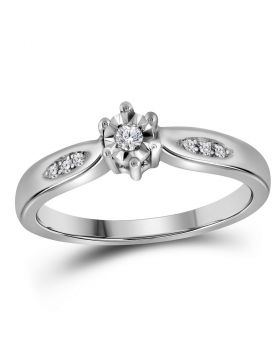 Sterling Silver Womens Round Diamond Solitaire Bridal Wedding Engagement Ring 1/20 Cttw - Size 10