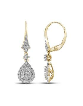 14kt Yellow Gold Womens Round Diamond Teardrop Cluster Dangle Earrings 7/8 Cttw