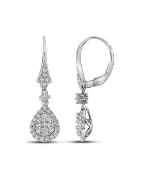 14kt White Gold Womens Round Diamond Teardrop Cluster Dangle Earrings 7/8 Cttw