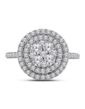 14kt White Gold Womens Round Diamond Concentric Double Halo Cluster Ring 1.00 Cttw