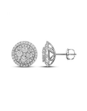 14kt White Gold Womens Round Diamond Framed Flower Cluster Earrings 1-3/4 Cttw
