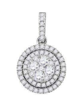 14kt White Gold Womens Round Diamond Double Frame Flower Cluster Pendant 7/8 Cttw