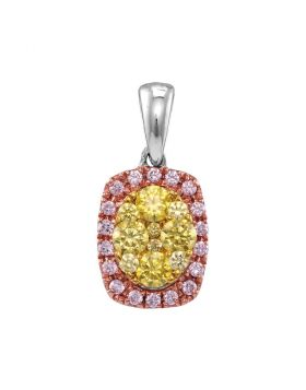 14kt White Gold Womens Round Yellow Pink Diamond Oval Frame Cluster Pendant 3/4 Cttw