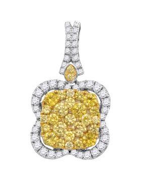 14kt White Gold Womens Round Yellow Diamond Quatrefoil Frame Cluster Pendant 1-5/8 Cttw