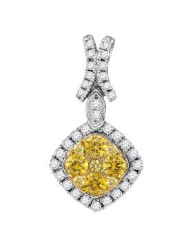 14kt White Gold Womens Round Yellow Diamond Diagonal Square Frame Cluster Pendant 1.00 Cttw