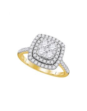 14kt Yellow Gold Womens Round Diamond Square Double Halo Cluster Ring 1.00 Cttw