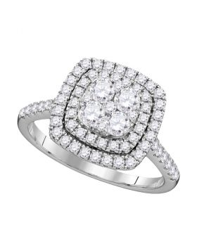 14kt White Gold Womens Round Diamond Square Double Halo Cluster Ring 1.00 Cttw