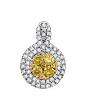 14kt White Gold Womens Round Yellow Diamond Circle Frame Cluster Pendant 1.00 Cttw