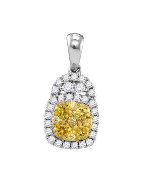 14kt White Gold Womens Round Yellow Diamond Cluster Pendant 3/4 Cttw