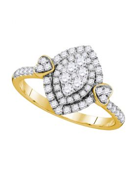 14kt Yellow Gold Womens Round Diamond Oval Double Halo Cluster Ring 1/2 Cttw
