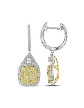 14kt White Gold Womens Round Canary Yellow Diamond Dangle Earrings 2-1/2 Cttw