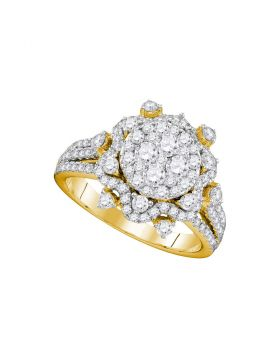 14kt Yellow Gold Womens Round Diamond Cluster Bridal Wedding Engagement Ring 1-5/8 Cttw