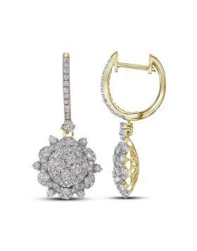 14kt Yellow Gold Womens Round Diamond Starburst Cluster Dangle Hoop Earrings 2-1/4 Cttw