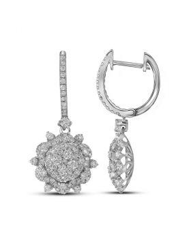 14kt White Gold Womens Round Diamond Starburst Cluster Dangle Hoop Earrings 2-1/4 Cttw