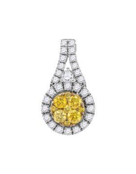 14kt White Gold Womens Round Yellow Diamond Circle Frame Cluster Pendant 5/8 Cttw