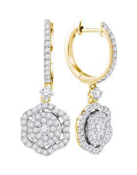 14kt Yellow Gold Womens Round Diamond Hexagon Frame Cluster Dangle Earrings 1.00 Cttw