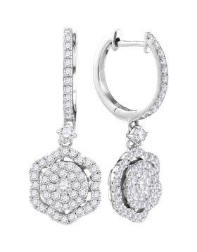 14kt White Gold Womens Round Diamond Hexagon Frame Cluster Dangle Earrings 1.00 Cttw
