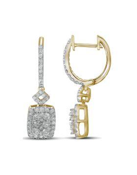 14kt Yellow Gold Womens Round Diamond Rectangle Dangle Hoop Earrings 7/8 Cttw