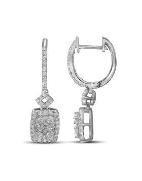 14kt White Gold Womens Round Diamond Rectangle Dangle Earrings 7/8 Cttw