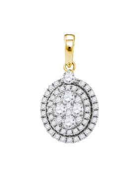 14kt Yellow Gold Womens Round Diamond Oval Cluster Pendant 1.00 Cttw