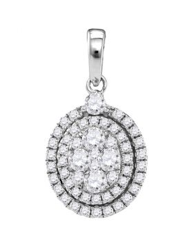 14kt White Gold Womens Round Diamond Oval Cluster Pendant 1.00 Cttw